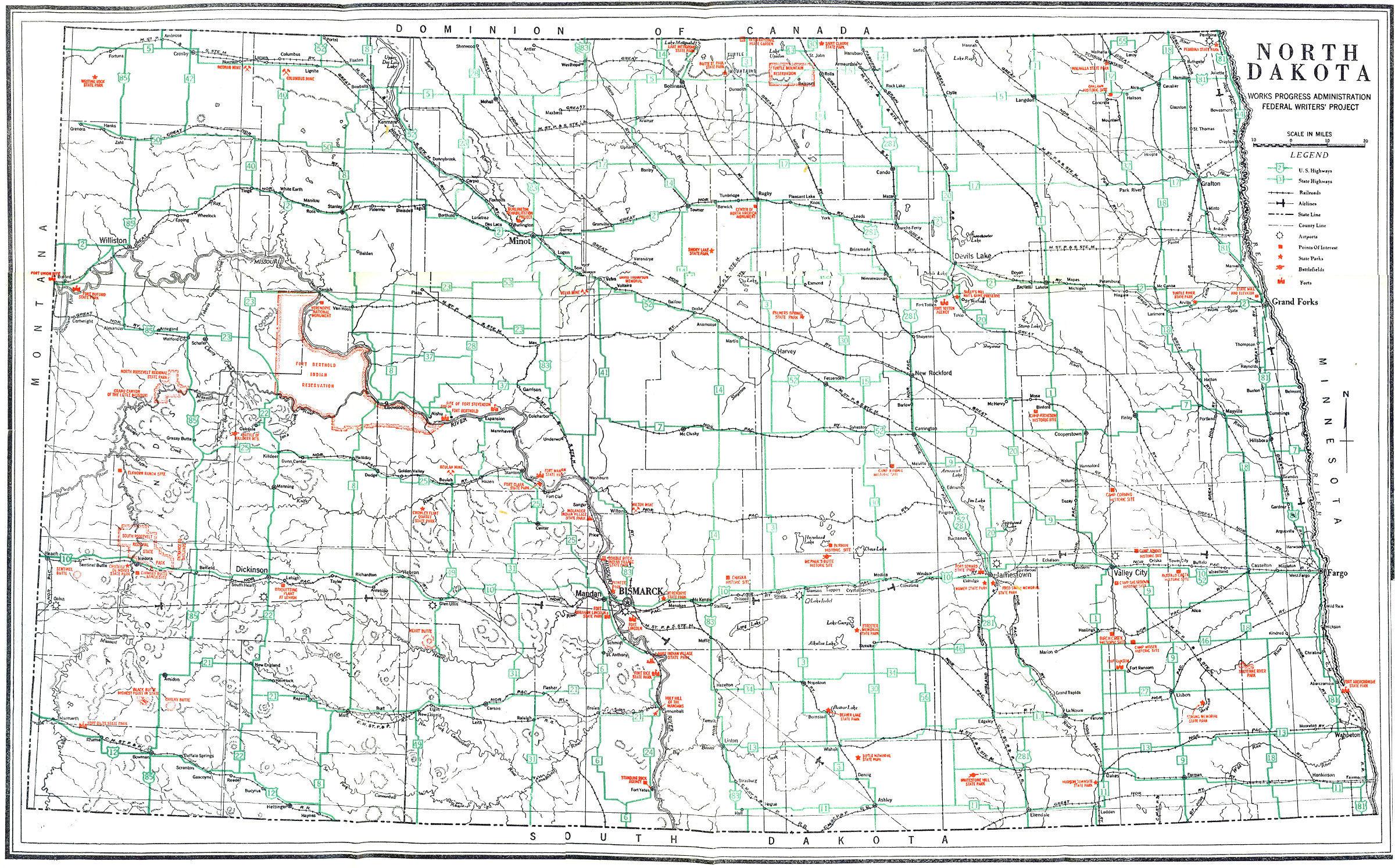 The Project Gutenberg EBook Of North Dakota A Guide To The - North dakota road map