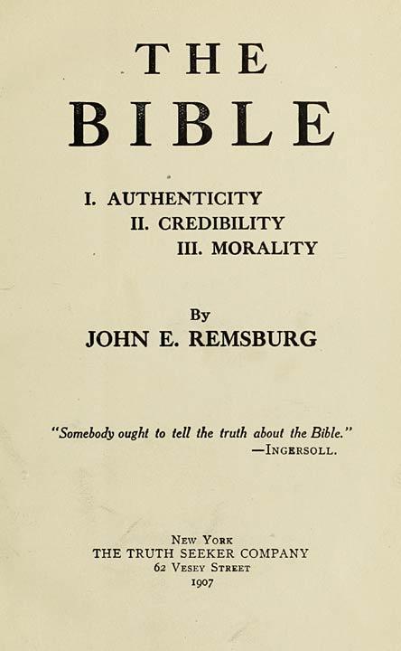 The Bible I Authenticity Ii Credibility Iii Morality
