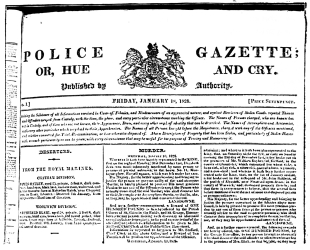 The project gutenberg ebook of mysteries of police and crime by reduced fac simile of part of front page of the first number of the fandeluxe Gallery