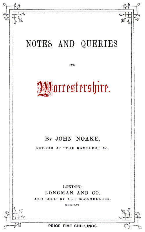 The Project Gutenberg Ebook Of Notes And Queries For Worcestershire