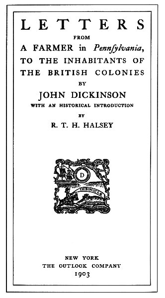 The Project Gutenberg Ebook Of Letters From A Farmer In Pennsylvania By John Dickinson