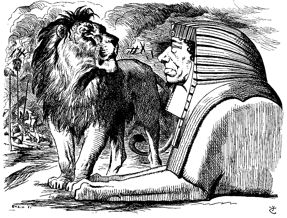 lion addressing a caricature sphinx