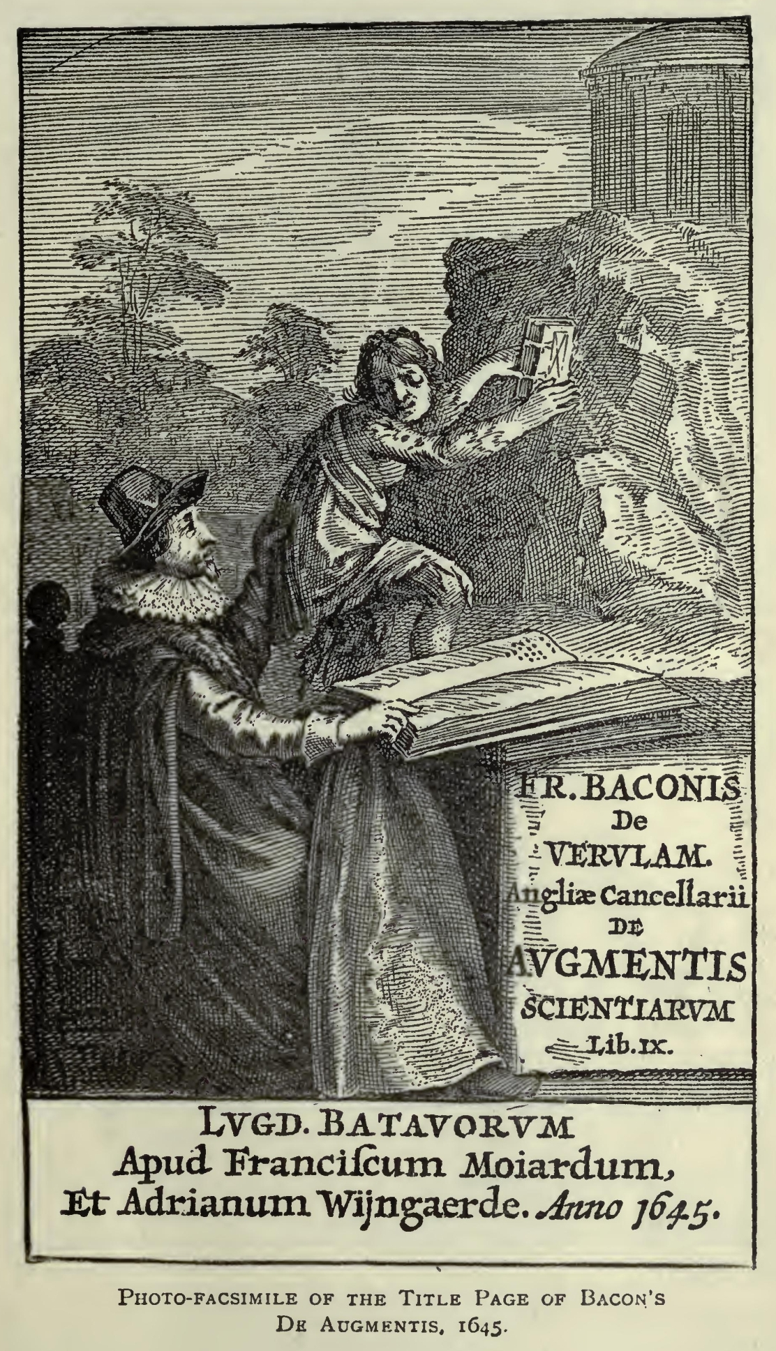 illustration by edwin durning lawrence having very carefully considered this plate of the title page of the de augmentis 1645 let us next examine the plate on page 13 which is the title page