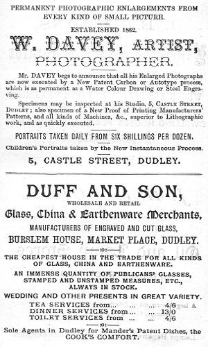 The project gutenberg ebook of the curiosities of dudley and the adverts for w davey photographer duff and son glass china fandeluxe Gallery