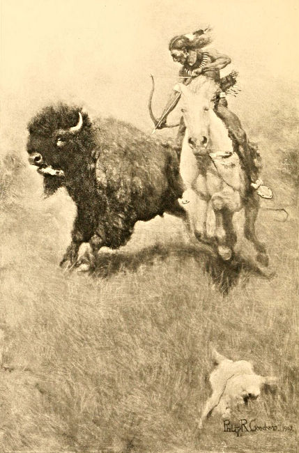 Native American shooting a bison with bow and arrow