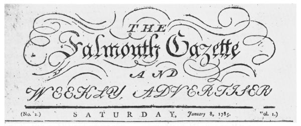 The project gutenberg ebook of pioneer imprints from fifty states the falmouth gazette and weekly advertiser no 2 saturday january 8 fandeluxe Gallery