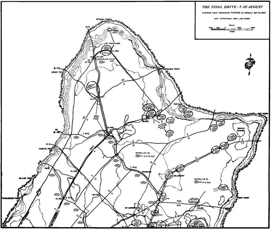 the project gutenberg ebook of liberation marines in the recapture Guam Naval Base Map the final drive 7 10 august