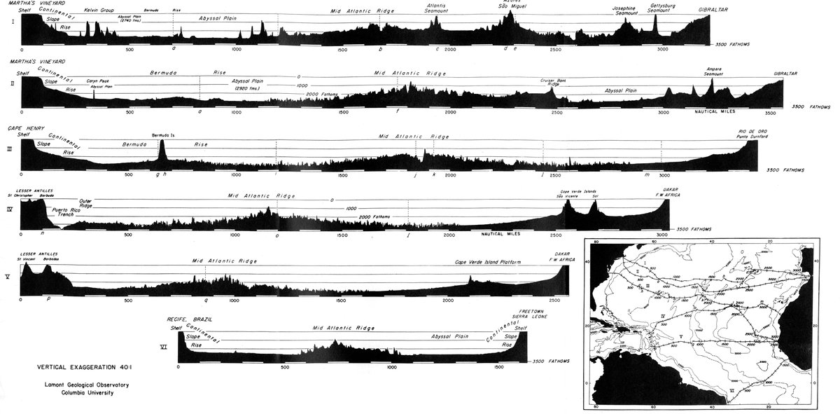 The floors of the oceans 1 the north atlantic by bruce c heezen soundings in fathoms continuously recorded by an nmc echo sounder on the r v atlantis the letters aq indicate where soundings from different cruises publicscrutiny Images