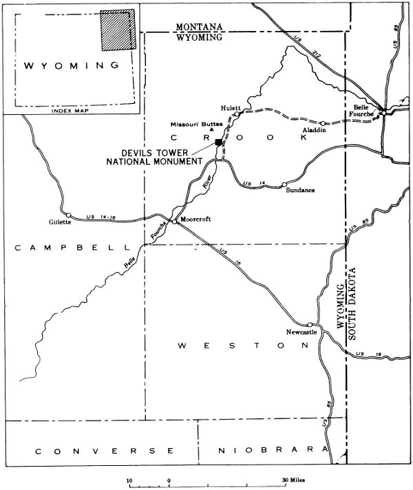 Geology of devils tower national monument wyoming by charles s index map showing location of devils tower national monument publicscrutiny Choice Image