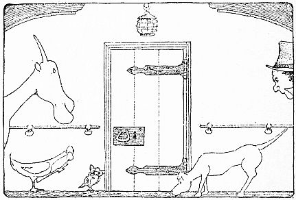 Animals listening at door