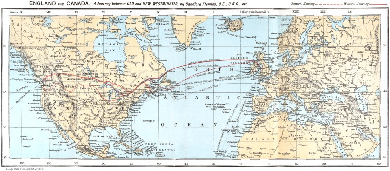 The project gutenberg ebook of england and canada by sandford fleming map of the journey gumiabroncs Image collections