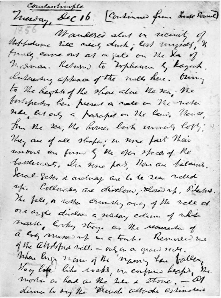 A PAGE FROM ONE OF MELVILLES JOURNALS