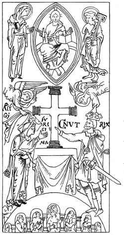 CNUT AND EMMA AELFGYFU PLACING THE CROSS AT HYDE From An Anglo Saxon MS