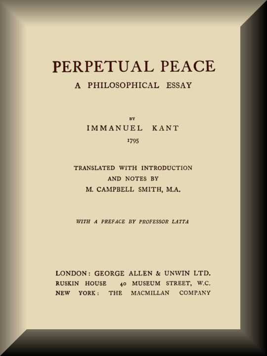 Perpetual Peace By Immanuel Kanta Project Gutenberg Ebook Book Cover