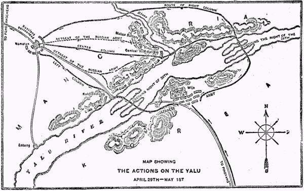 map showing the actions on the yalu april 29th may 1st