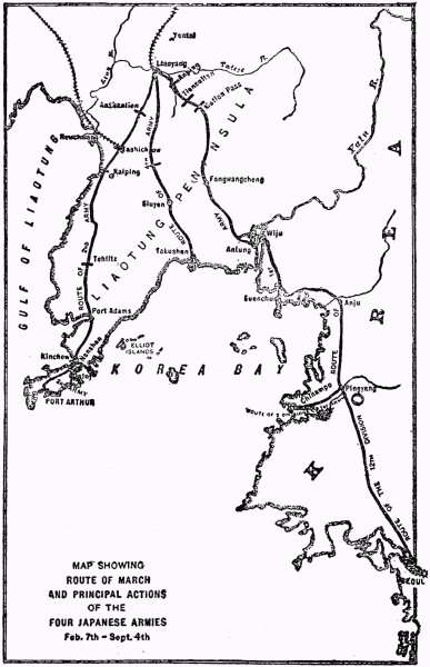 map showing route of march and principal actions of the four japanese armies feb 7th