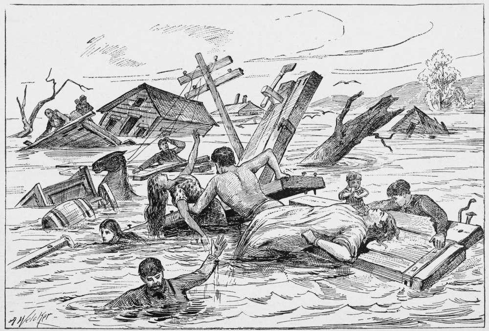Рисунок наводнение карандашом