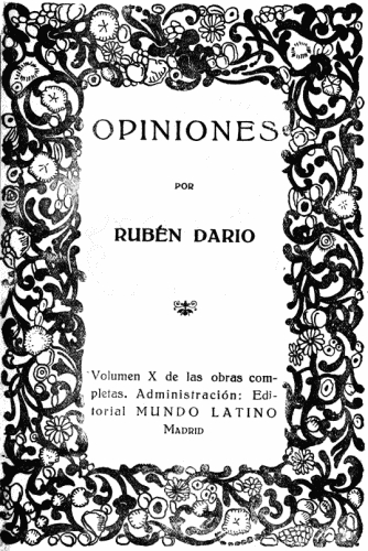 The Project Gutenberg Ebook Of Opiniones Por Rubén Darío