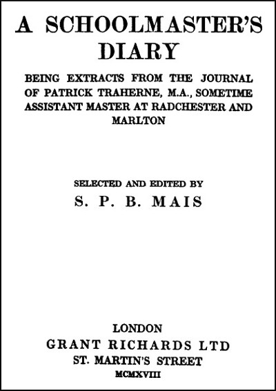 The project gutenberg ebook of a schoolmasters diary by s p b mais title page for a schoolmasters diary fandeluxe Choice Image
