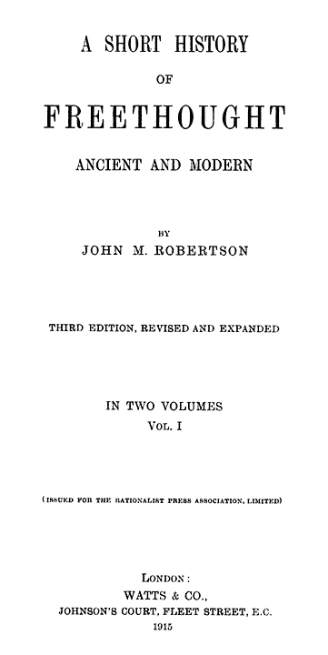 A short history of freethought ancient and modern volume 1 of 2 original title page fandeluxe Choice Image