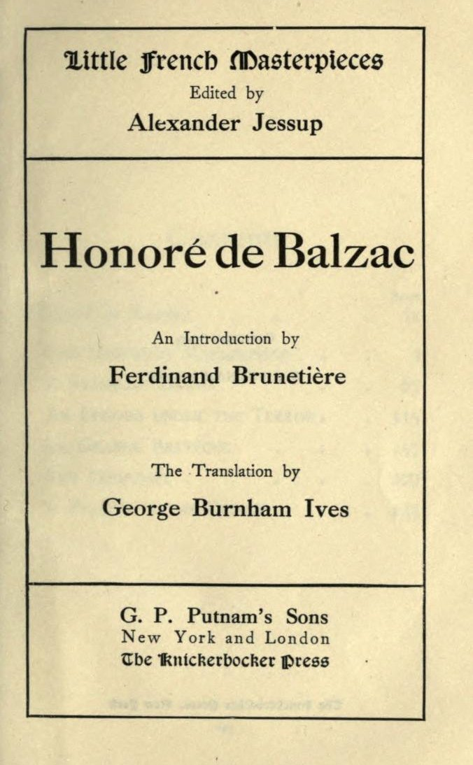 The Project Gutenberg Ebook Of Honor De Balzac Little