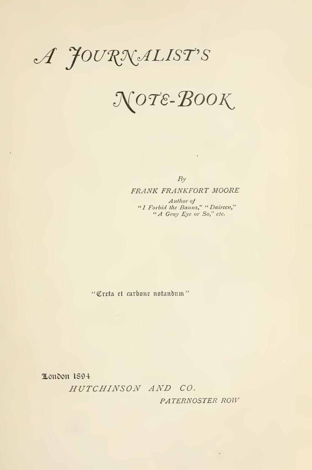 A journalists note book by frank frankfort moore 0009 fandeluxe Image collections