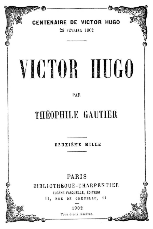 The Project Gutenberg Ebook Of Victor Hugo By Théophile