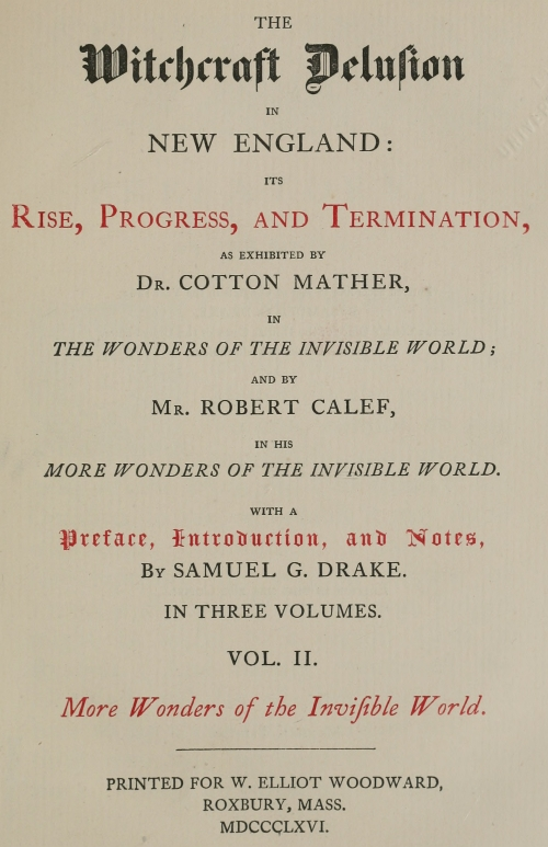 The Project Gutenberg Ebook Of The Witchcraft Delusion In New