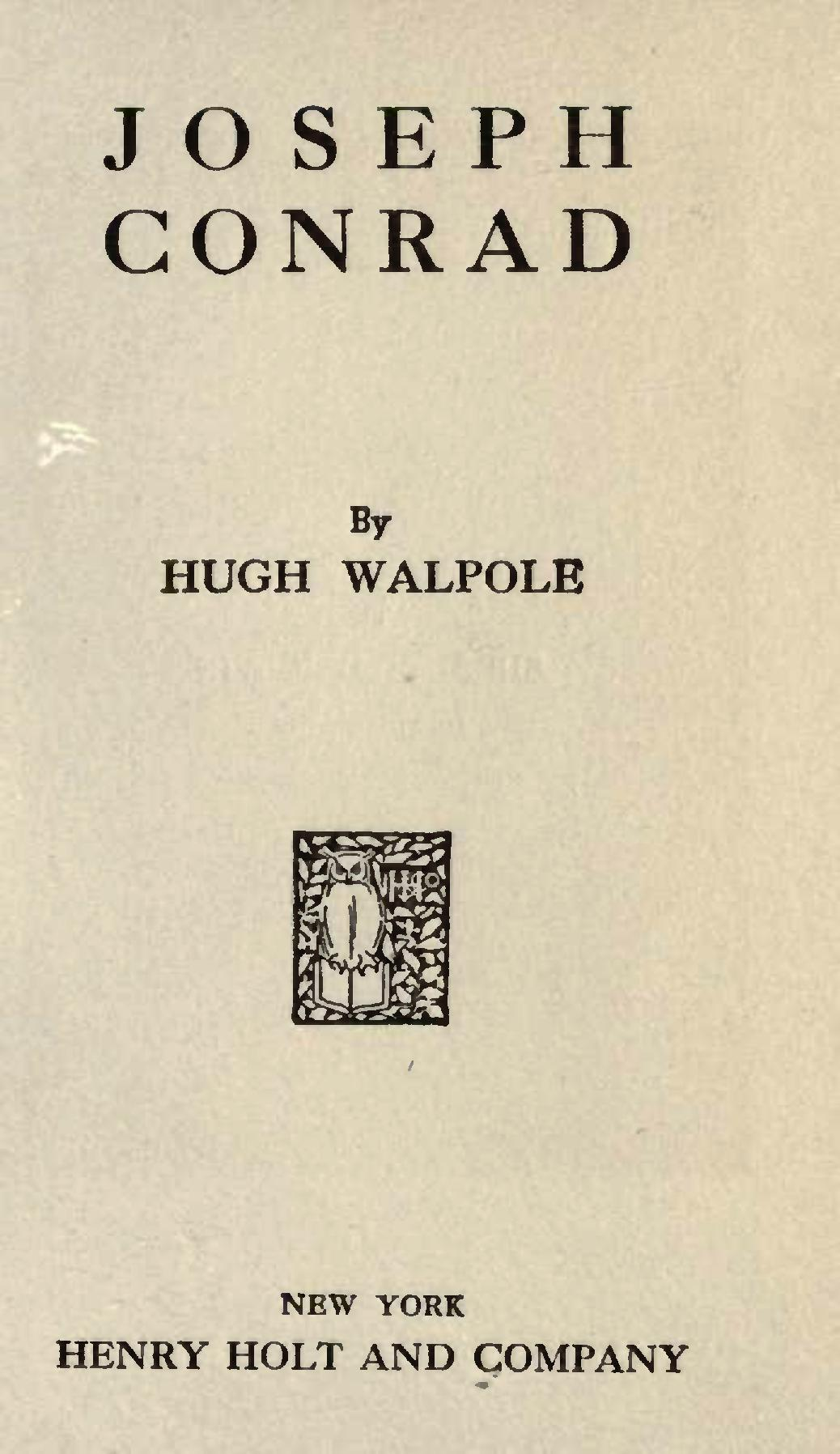 Joseph Conrad By Hugh Walpole
