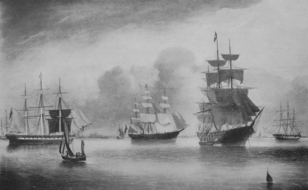 Kent.Lightning.White Star.Malabar. EMIGRANT FLEET IN HOBSON S BAY. From a  painting by Captain D. O. Robertson b51fb77f1a2c2