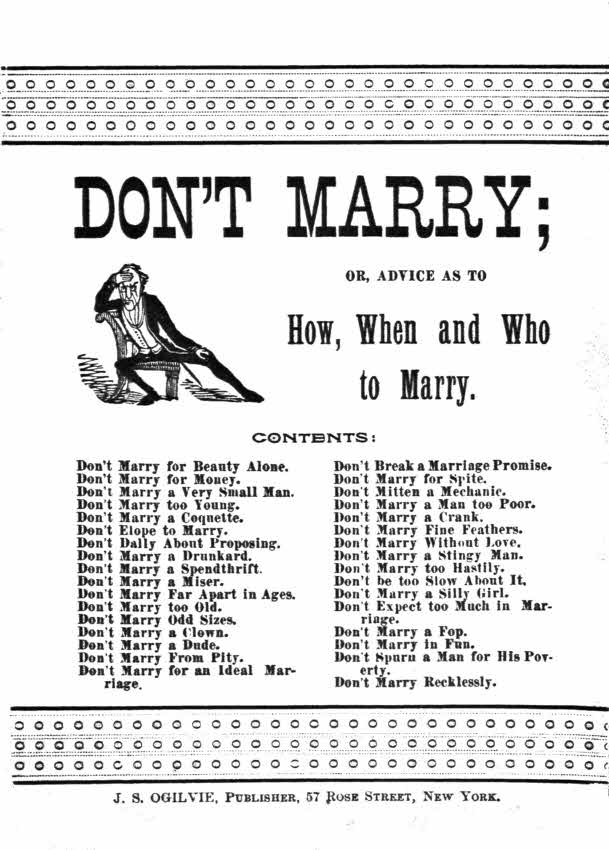 The project gutenberg ebook of dont marry or advice on how when start of this project gutenberg ebook dont marry produced by demian katz craig kirkwood and the online distributed proofreading team at fandeluxe Choice Image