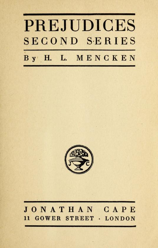 The Project Gutenberg Ebook Of Prejudices Second Series By H L