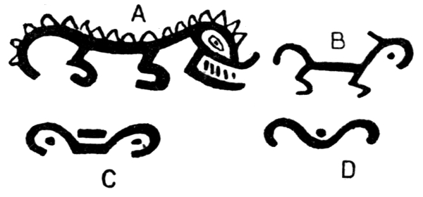 Four Stages In The Simplification Of A Decorative Design Alligator As Painted On Pottery By Chiriqui Indians Holmes