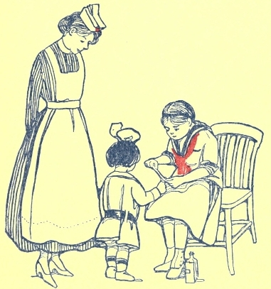 the project gutenberg ebook of the mary frances first aid book by Rug Doctor Carpet Cleaner Sales girls working on bandage wrapping while miss helpem watches