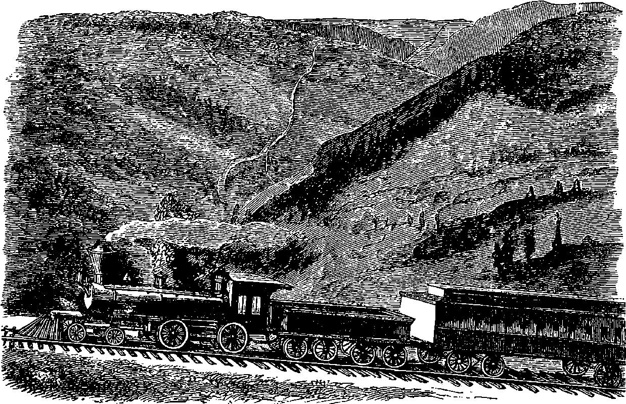353 ITALY Mount Vesuvius Cable Railway 1889  Antique Print