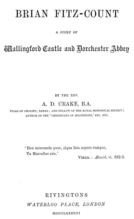 The Project Gutenberg eBook of Brian Fitz-Count, by A. D. (Augustine ...