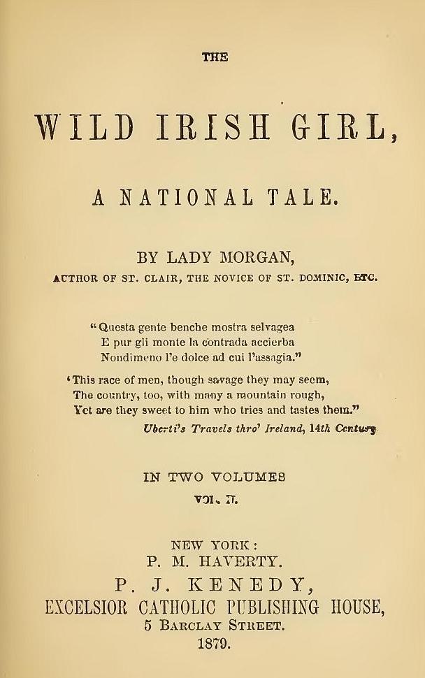 The Wild Irish Girl Vol I And Ii By Aka Sydney Owenson Lady