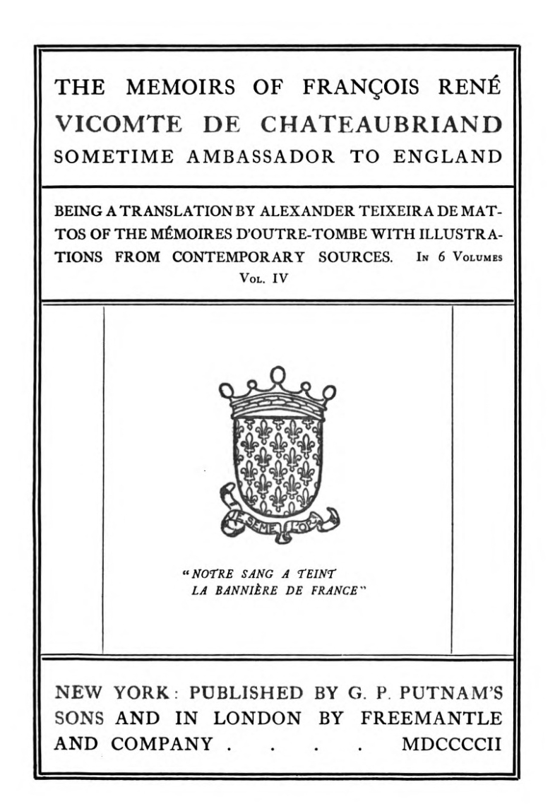 The Project Gutenberg eBook of The Memoirs of François René Vicomte ...