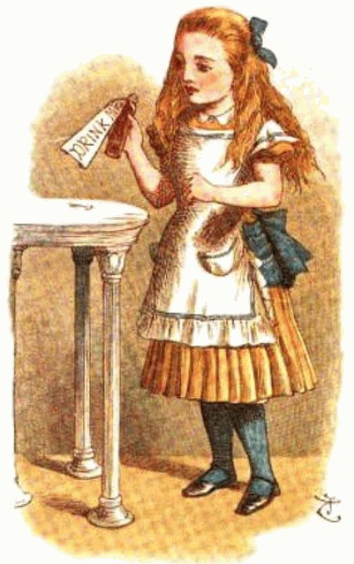 Alice With Bottle Labeled Drink
