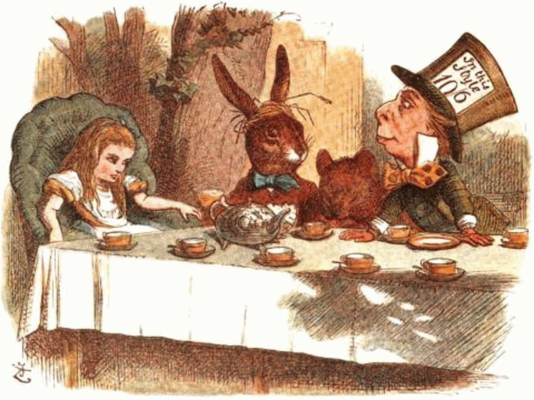 Alice March Hare And Mad Hatter At A Table Laid For Tea