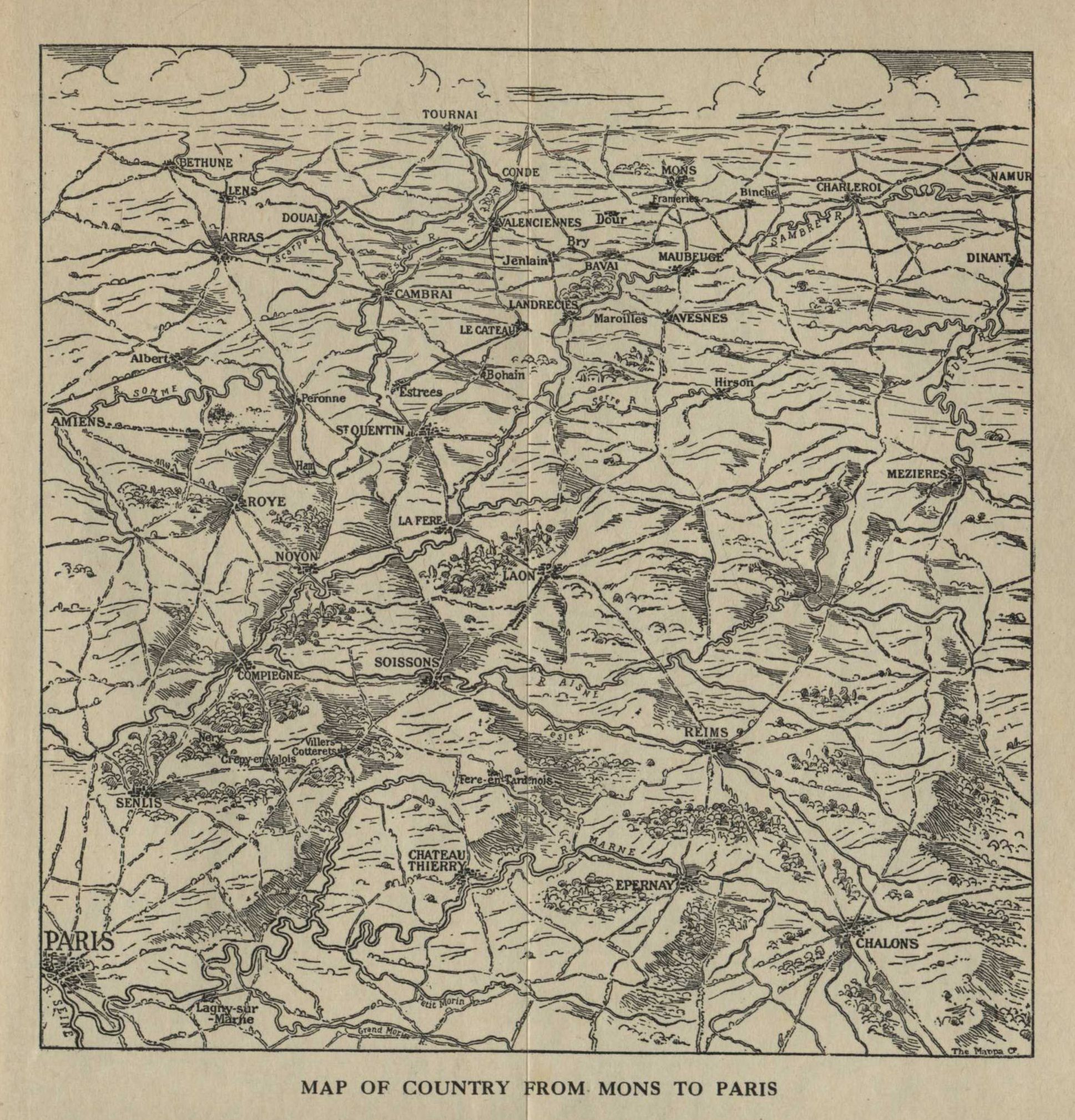 MAP OF COUNTRY FROM MONS TO PARIS