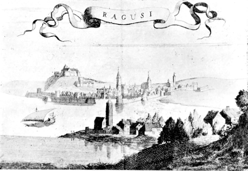 The project gutenberg ebook of the republic of ragusa by luigi view of ragusa from p g coronellis views of dalmatia 1680 fandeluxe Image collections