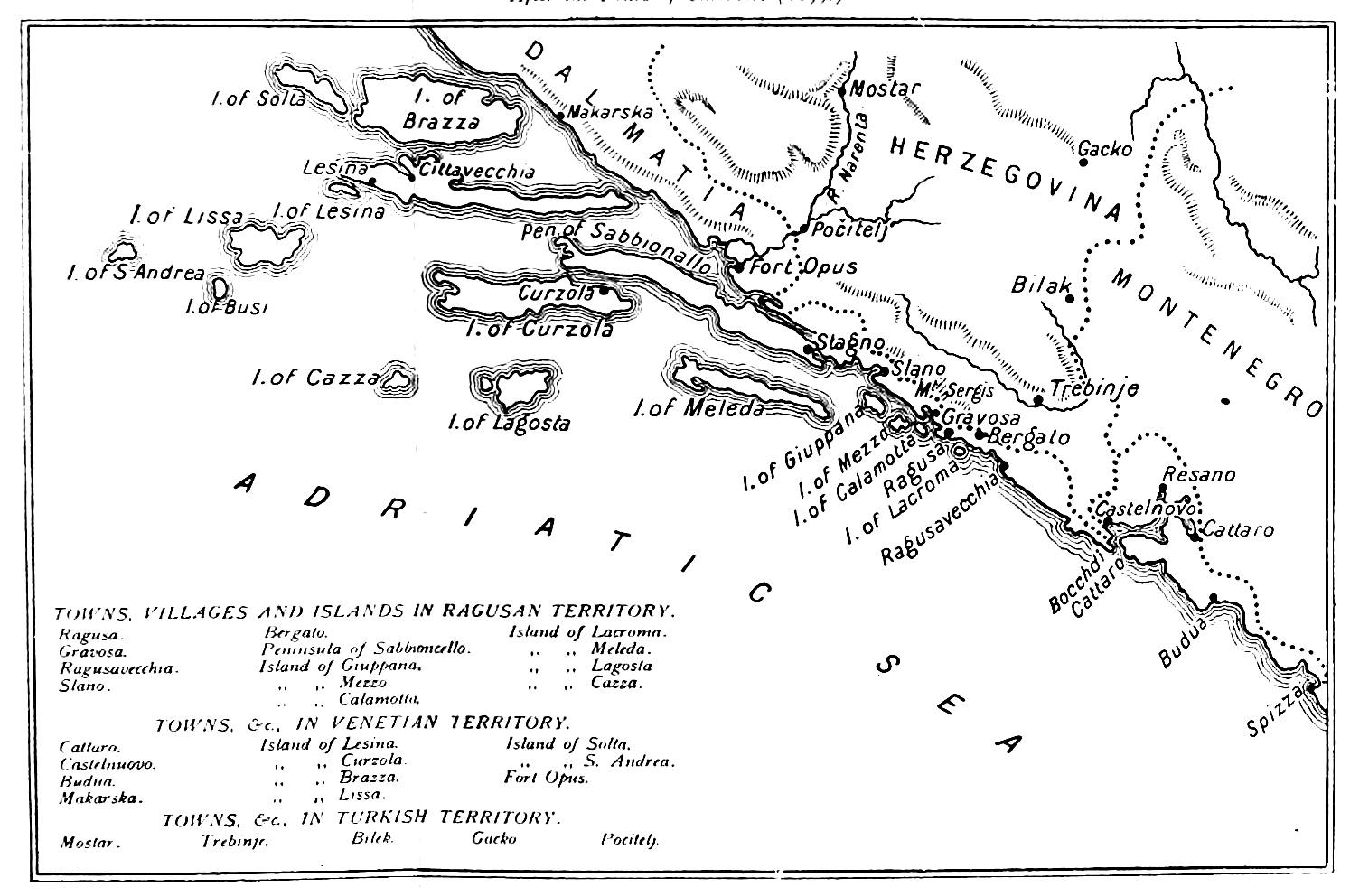 The project gutenberg ebook of the republic of ragusa by luigi map of the ragusan republic and neighbouring states fandeluxe Image collections