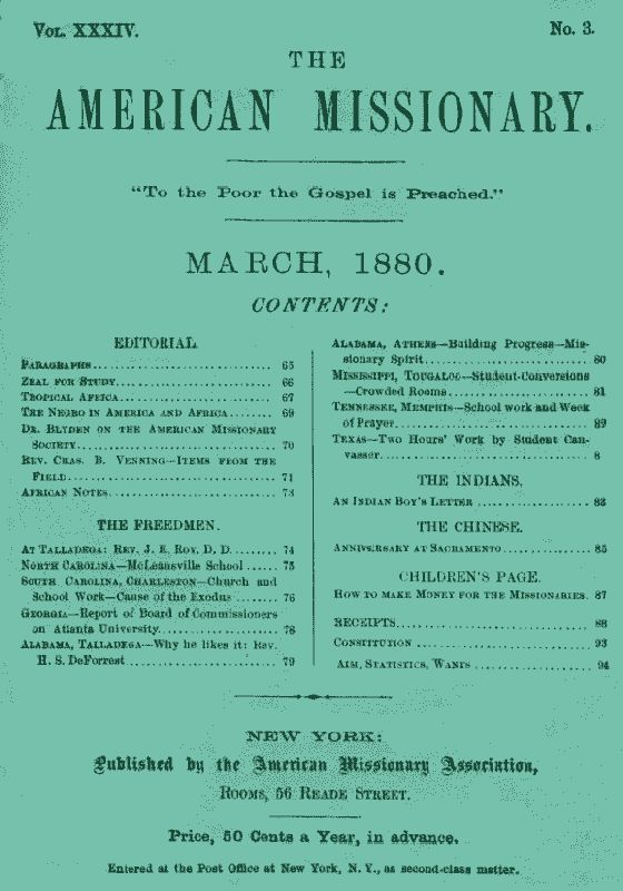 The Project Gutenberg Ebook Of The American Missionary Volume 34