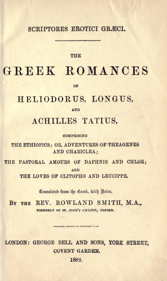 The Project Gutenberg eBook of The Greek Romances of