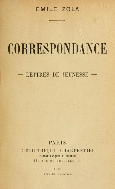 The Project Gutenberg Ebook Of Correspondance By émile Zola
