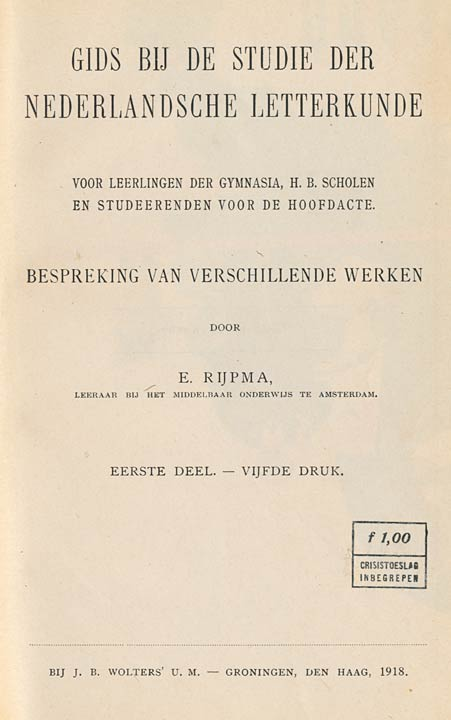 Gids Bij De Studie Der Nederlandsche Letterkunde