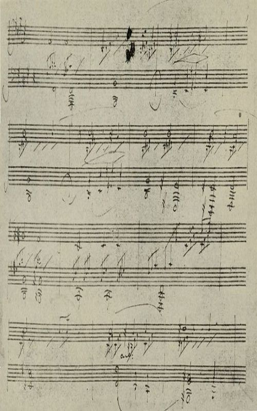 The project gutenberg ebook of beethoven by romain rolland page of autograph of moonlight sonata in beethovens house at bonn fandeluxe Choice Image