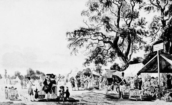 Camp in Hyde Park during the Gordon Riots, 1780. From a Print in the Crace  Collection, British Museum.