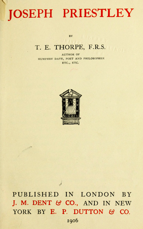 Joseph priestley by t e thorpe a project gutenberg ebook fandeluxe Images